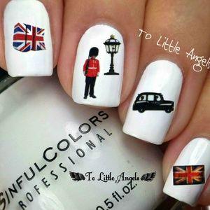 LONDON British flag- nail art BLUE24